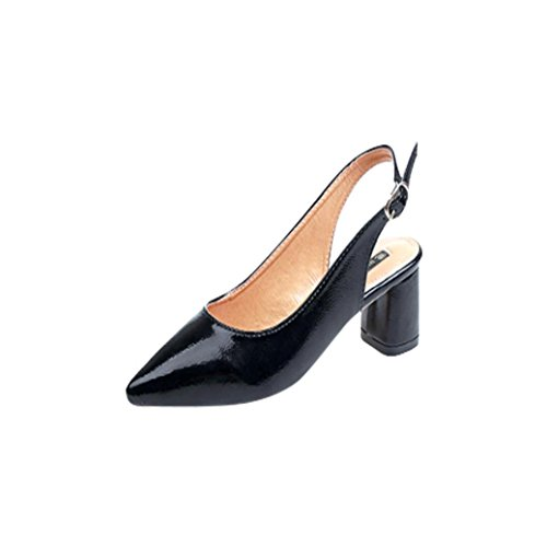Byste Womens Pointed Toe Slingback Dress Block Heel Court Shoes Black