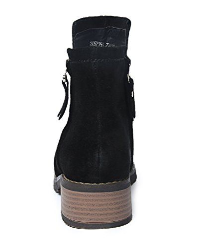 skaft iEnjoy Leather 12 Cow Real Boots cm Black with Suede Ozqw4ZOv