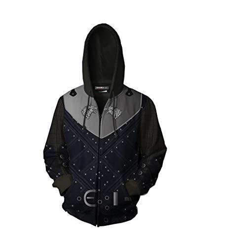 starfun GOT Jon Snow House Stark Direwolf Hoodies Sweatshirt Costume Night's King Zipper Jacket Coat]()