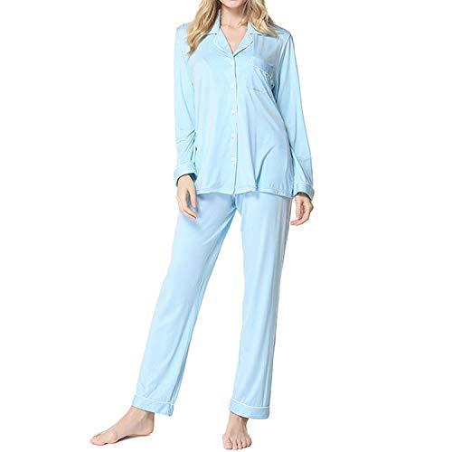 dc5afbc9db wishpower Soft Bamboo Pajamas Set Women s Long Sleeve Sleepwear Loungewear  Pj Set S-XXL