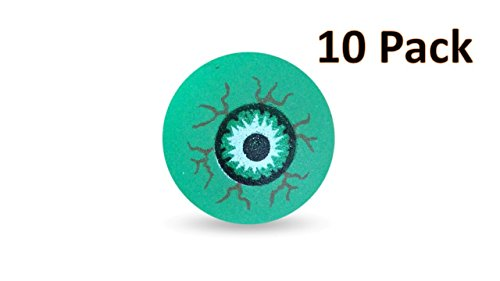 GSM Brands Halloween Eyeball Bouncy Balls - Party Favors for Kids - Glow in The Dark Fake Eye Ball Toy - 10 Pack]()