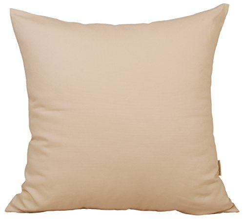"""TangDepot Cotton Solid Throw Pillow Covers, 14"""" x 14"""" , Crea"""