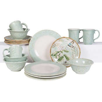 Fitz and Floyd Toulouse Green 16-piece Dinnerware Set (Fitz & Floyd Dishwasher Safe Plates)