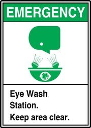 Eye Wash Sign, 14 x 10In, GRN and BK/WHT