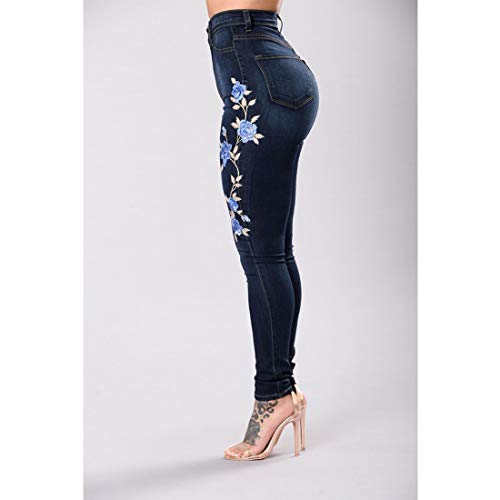 Skinny Blue Gamba Con Black2 2xl Jeans Ricamata Junfelicia Vita Rosa Pantaloni Size color Alta A pSwB5Zg