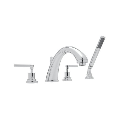 Rohl A1264LMAPC Avanti Bath Four Hole Deck Mounted Tub Filler with Metal Lever Handles and Single Function Handshower, Polished Chrome by Rohl