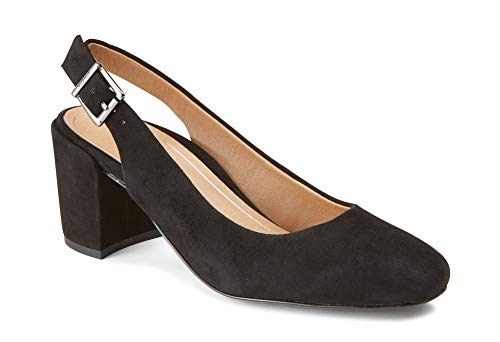 (Vionic Women's Plaza Nareen Slingback Heel - Ladies Block Heels with Concealed Orthotic Arch Support Black Suede 6 M US)