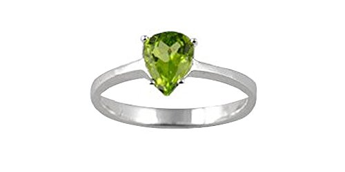 Sterling Silver 7x5mm Pear Shape Genuine Peridot Ring (size 6.5) (Pear Peridot Ring)