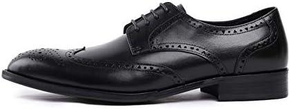Hombre Negocios Señalaron Zapatos Ocasionales Impermeables Genuino Zapato Cuero La Oficina Smoking Formal Botas con Cordones Brogue Plano La Vendimia Zapato Trabajo,Negro,42