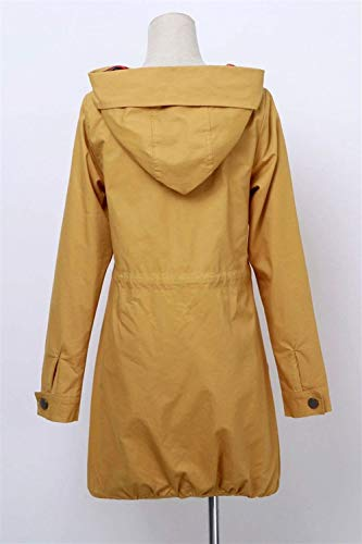 Manica Bottoni Trench Primaverile Festiva Cappotto Elegante Vintage Outerwear Giovane Giacca Moda Tasche Autunno Chiusura Lunga Gelb Women Donna Giaccone Con Cappuccio Giacche 7Aqwwda