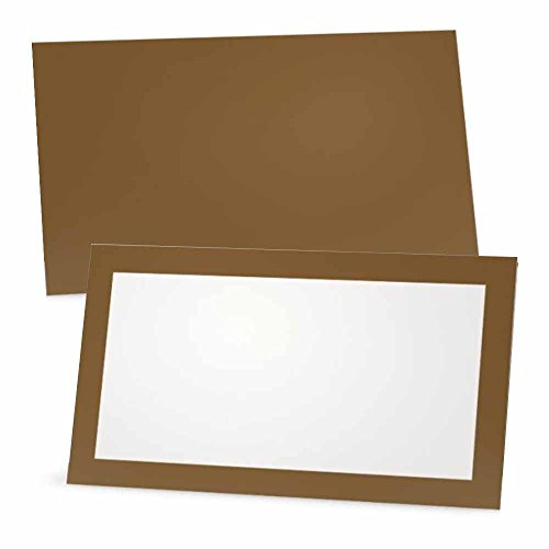 Tawny Brown Place Cards - FLAT or TENT - 10 or 50 Pack - White Blank Front with Color Border - Placement Table Name Seating Stationery Party Supplies - Occasion or Dinner Event (10, FLAT STYLE)