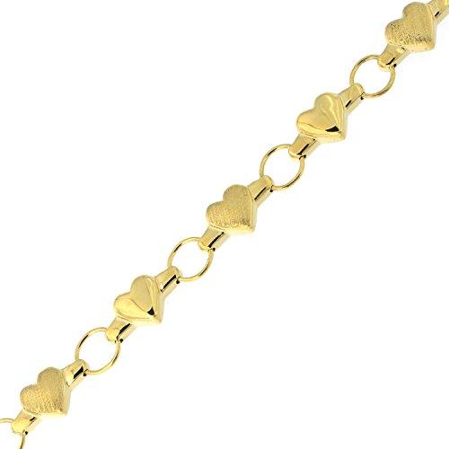 14k Yellow Gold Matte and Polished Finish Heart Link Bracelet, 7