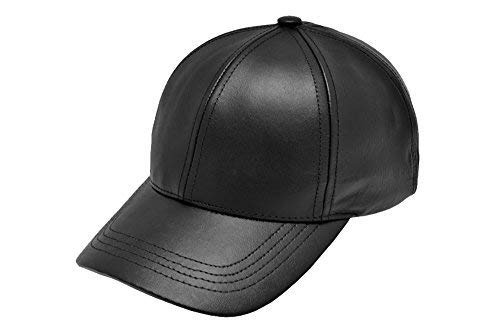 Black Leather Adjustable Baseball Cap Hat Made in USA ()