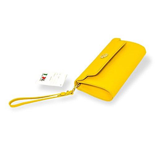 à de bracelets main en Orlandi cuir Valentino d'embrayage jaune Sac Designer italien canari E6AnqR