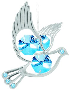 Hanging Sun Catcher or Ornament Dove With Blue Swarovski Austrian Crystals