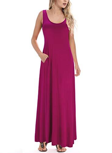 HUSKARY Womens Casual Maxi Dress Sleeveless Flowy Summer Beach Wrap Long Dress Cover Up Purple