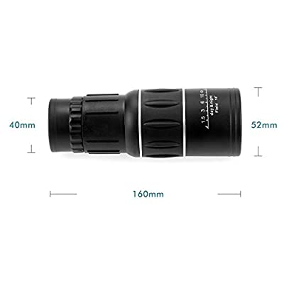 RioRand Waterproof 16x52 Dual Focus Monocular Telescope Zoom Optic Lens Armoring / Monocular Scope day and night vision for Camping, Hiking, Hunting Surveillance Scalable Telescopic 66m/ 8000m