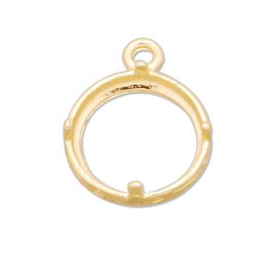 12mm Gemstone Settings Raw Brass Pendant-20pcs-Jewelry Accessories