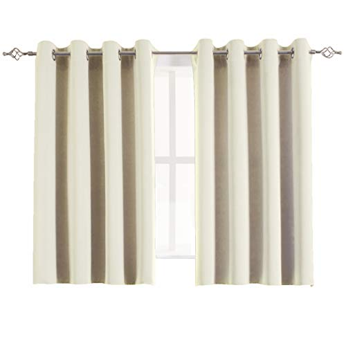 urtains Set Decorative Eyelets Top Solid Thermal Blackout Door/Window Curtain Drapes for Bathroom, 2 Panels, 54W x 45L Inch, Beige ()