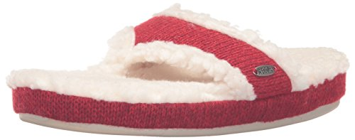 Acorn Women's Ragg Spa Thong Slipper,Red Ragg Wool,Medium/6.5-7.5 M US