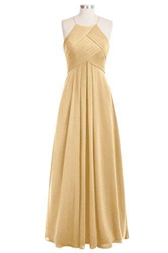 Tivansi Women's Halter Chiffon Long Bridesmaid Dresses gold Size 24