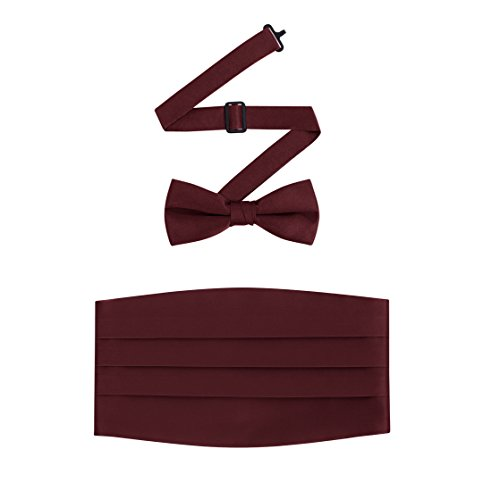 Men's Formal Satin Bowtie and Cummerbund Set - Burgundy, By S.H Churchill (Cummerbund Set Burgundy)