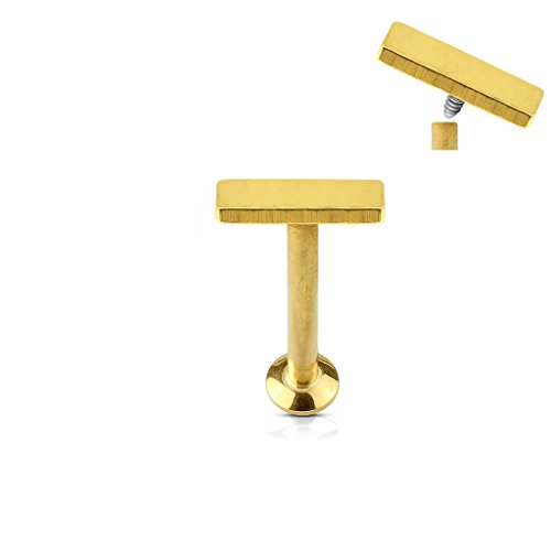 (2 pieces) 16g (1.2mm) Straight Flat Back Barbell RECTANGLE FLAT TOP (316L) Surgical Steel, Nickle Free (Labret, Cartilage, Tragus, Conch, Ear, Monroe, Lip) (gold plated) (Steel 316l Surgical Top)