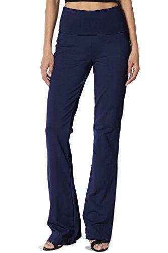 Stretch Bootleg Pant - TheMogan Women's Thick Stretch Cotton Foldover Bootleg Yoga Pants Navy L