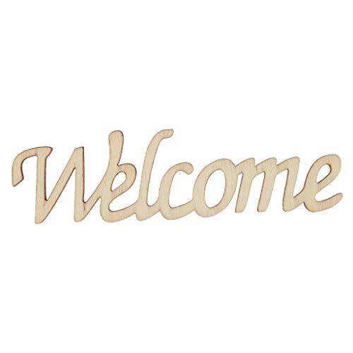 (Prettyia Welcome Embellishment Wooden Cutout Welcome Sign Rustic Home Wall Decor 11 x 3 x 0.3cm)