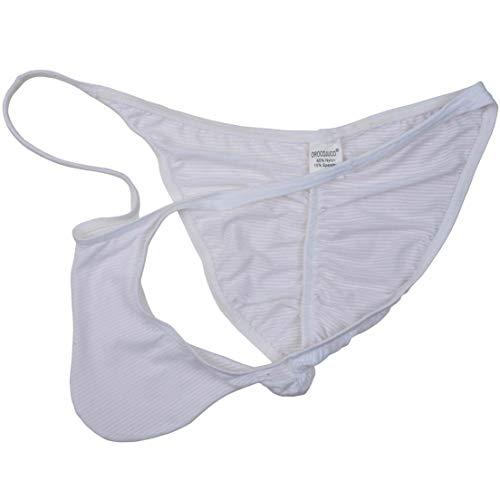 (OROCOJUCO Men Pouch Thong String T-Back Spandex Underwear Mini Bikini Jockstrap Tanga White XL)