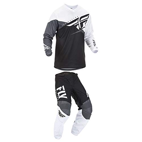 Combo Suit - Fly Racing 2019 F-16 Jersey and Pants Combo Black/White/Gray Adult Racing Suit Gear Set (Small/32)