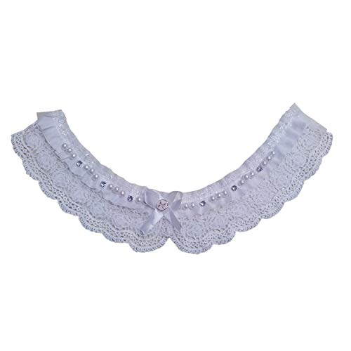 Tank Vintage Bib (Lace Collar - Lace Collar White Cotton Faux Pearl Sewing Applications - Blouses Neck Robe Ginsburg Judges Sleeves Victorian Dog Toddler Black)