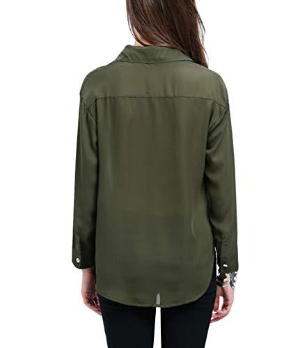 dc8e8261e51bc Yidarton Women Long Sleeve Chiffon Shirt Boxy Blouse Button Down Chiffon  Blouse Shirts Tops with Chest