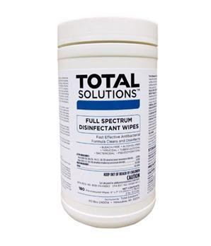 Total Solutions 1616 Full Spectrum Disinfectant Wipes, 6'' X 7'', 180 Wipes 6/ Cs