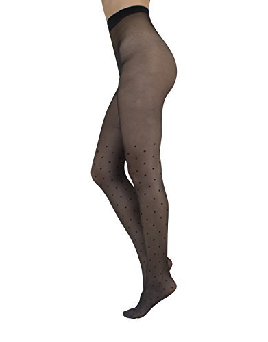 MOCK STOCKINGS WITH POLKA DOTS | SHEER TATTOO PRINTED PANTYHOSE | BLACK | 20 DEN | S M L | MADE IN ITALY (M)