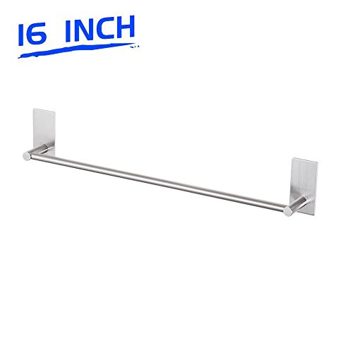 Nickel Chrome Towel Rack (LuckIn Bathroom Towel Rod 16 Inch Stick on Towel Holder Rail, Brushed Nickel Single Towel Bar Stainless Steel Hand Towel Rack Hanger Wall Mounted for Kitchen)