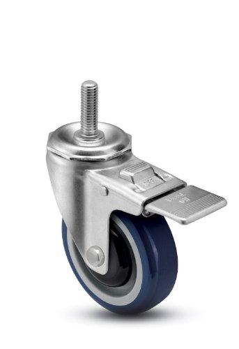 Shepherd-Institutional-Series-5-Diameter-Ball-Bearing-Urethane-Wheel-Total-Lock-Caster-12-Diameter-x-2-1316-Length-UNC13-Threaded-Stem-315-lbs-Capacity-Blue