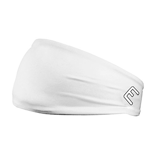Unisex Headband / Sweatband. Best for Sports, Fitness, Working Out, Yoga. Tapered Design. (SOLID WHITE)