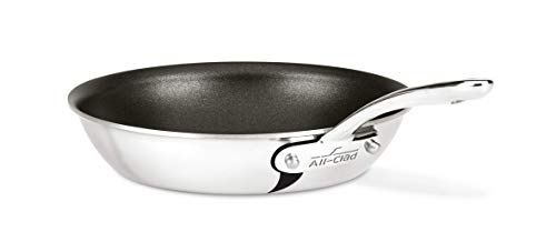 All-Clad ST4108.5 NS R2 D3 Compact Stainless Steel PFOA-/Free Nonstick Dishwasher Safe Fry Pan Cookware, 8.5-Inch, Silver - Clad Skillet All Non Stick