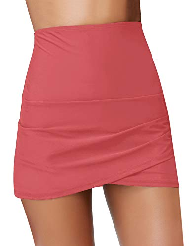 - GRAPENT Women's High Waist Tulip Hem Shirring Swim Skirt Swimsuit Bikini Bottom Coral Size M