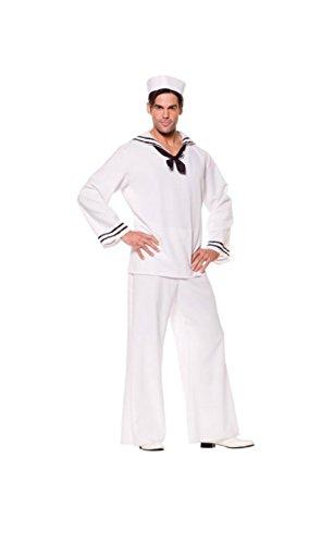 Underwraps Mens Sailor Shirt Navy Uniform With Tie And Hat Fancy Dress Costume, X-Large (46-48) (Sailor Plus Size Costume)
