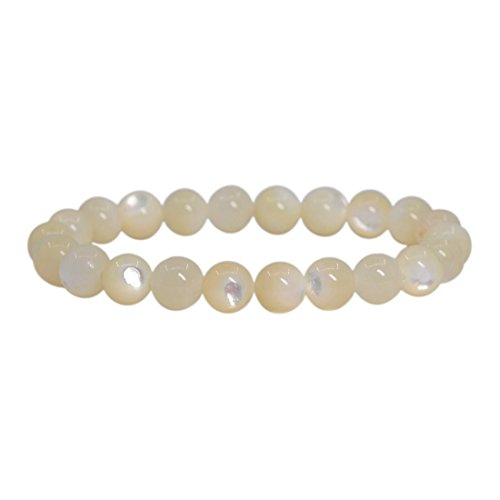 (Natural White Mother Of Pearl Gemstone 8mm Round Beads Stretch Bracelet 7
