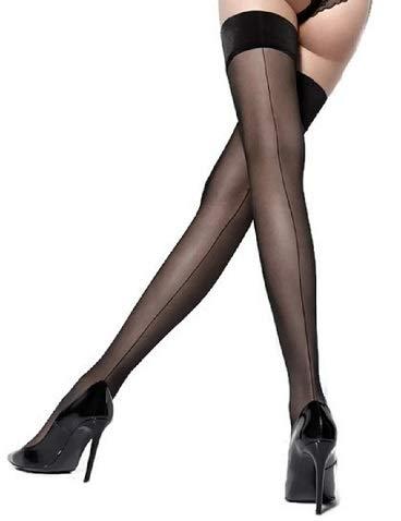 Marilyn Thigh High Stockings w/Backseam Satin Silicone Band (S/M) Black