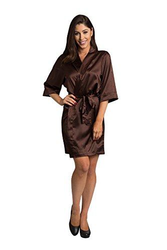 (Zynotti Womens Choc Satin Blank Robe 1X/2X 22-26 Chocolate)