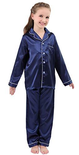 JOYTTON Kids Satin Pajamas Set PJS Long Sleeve Sleepwear Loungewear Dark Blue