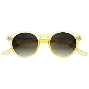 zeroUV - Vintage Inspired Small Round Circle Key Hole Retro P3 Sunglasses with Rivets (Yellow)