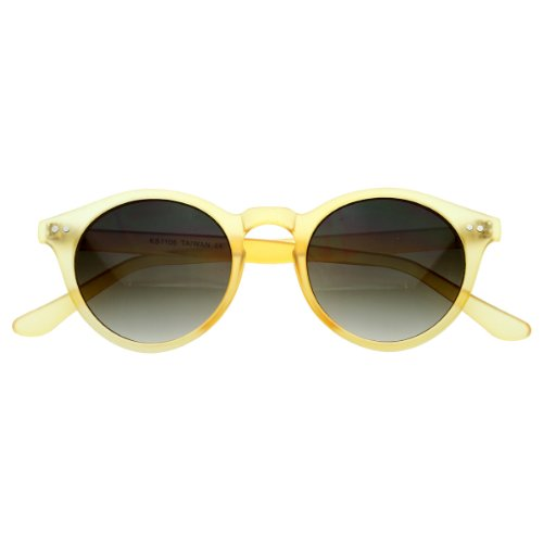 zeroUV - Vintage Inspired Small Round Circle Key Hole Retro P3 Sunglasses with Rivets - Round Frame Yellow Sunglasses