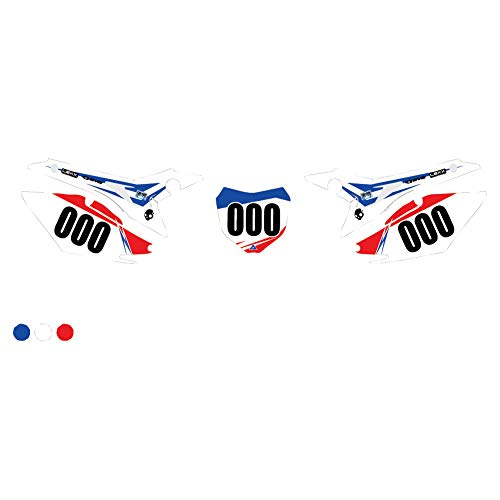 (Attack Graphics Custom Blitz Full Coverage Number Plate Backgrounds White/WORCS Blue - Fits: Honda CRF70F 2011-2012)