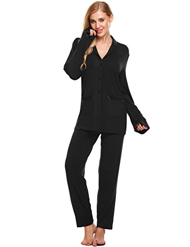 Ekouaer Womens Pajama Long Sleeve Pj Sets (Black, XX-Large) (Pajama S)