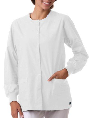 (Core By Maevn Unisex Round Neck Solid Scrub Jacket X-Large White)